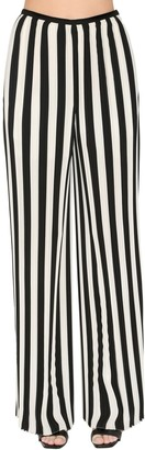 Krizia Pleated Stripe Chiffon Pants