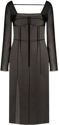 Supriya Lele Sheer Square-Neck Dress