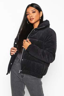boohoo Cord Panelled Puffer Jacket