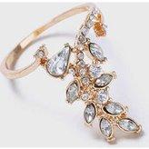 Dorothy Perkins Womens Rhinestone Leaf Ring- Clear