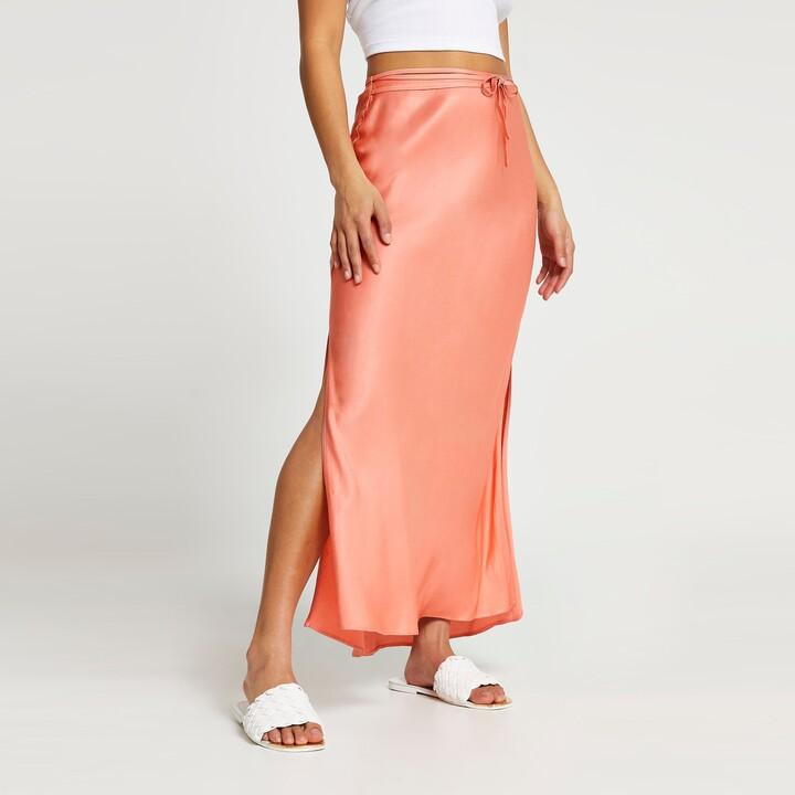 River Island Womens Petite copper tie waist maxi skirt