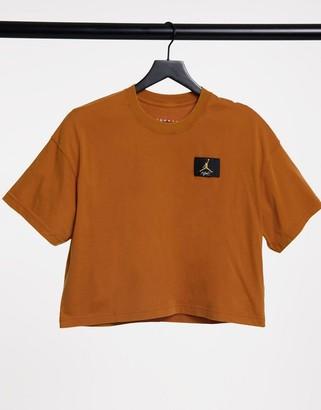 Jordan essentials boxy t-shirt in tawny brown