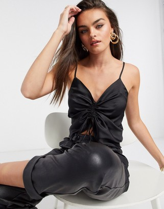 ASOS DESIGN v neck satin cami top with ruched front in black-No Color