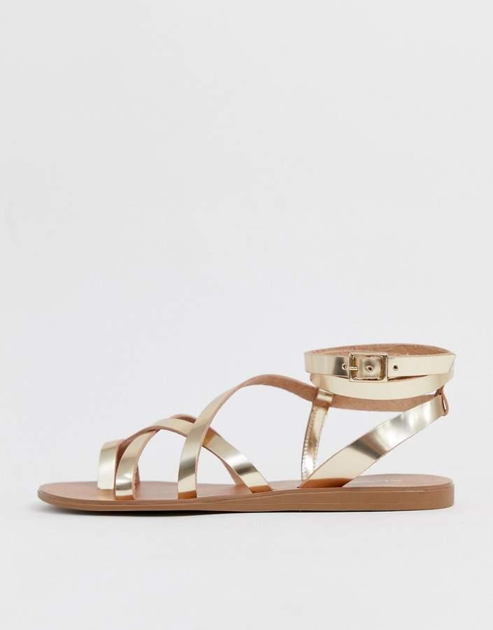 In 35lrj4a Sandal Gold Strappy Gludda Leather uKcF1TJ5l3