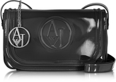 Armani Jeans Signature Faux Patent Leather Crossbody