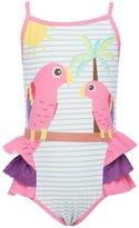 M&Co Minoti ruffle parrot print swimsuit