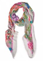 Matthew Williamson Duchess Garden Grey Modal Cashmere Large Scarf
