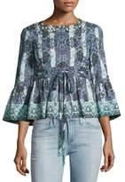 Nanette Lepore Clear Skies 3/4-Sleeve Cropped Striped Kaleidoscope Jacket, Black/Multicolor