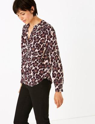 Marks and Spencer Floral V-Neck Long Sleeve Popover Blouse