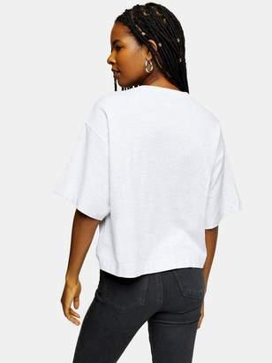 Topshop Boyfriend Roll SleeveT-Shirt - LightGrey