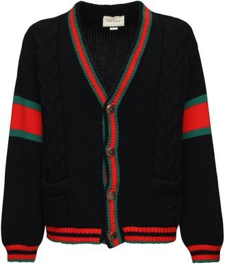 Gucci Wool Knit Cardigan W/ Web Detail