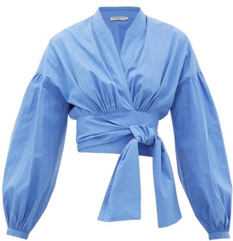 Three Graces London Greta Balloon-sleeve Cotton-poplin Wrap Blouse - Blue