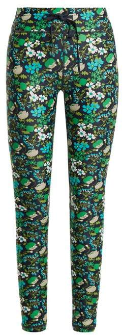 The Upside Floral Print Compression Performance Leggings - Womens - Navy Print