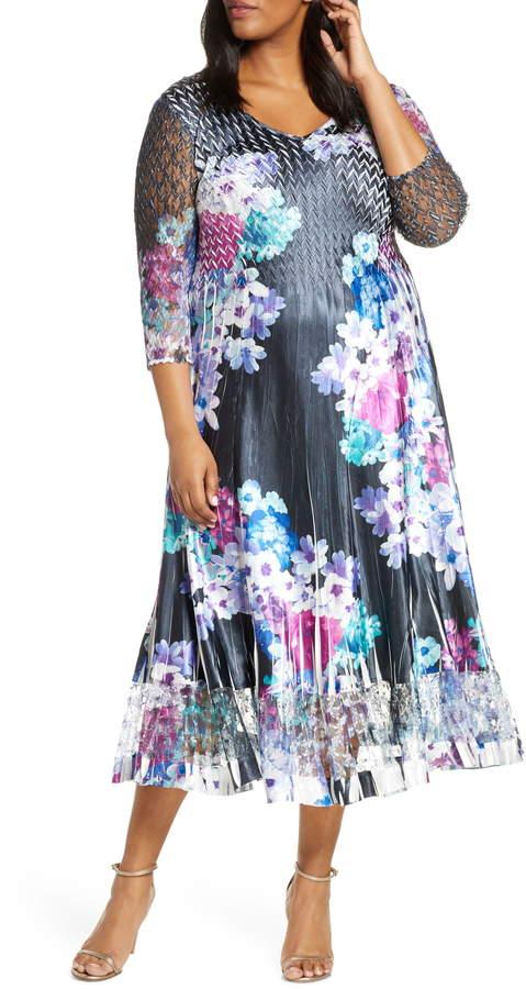 Floral Print Charmeuse & Lace A-Line Dress
