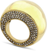 Ring, Gold Tone Pave Dome Cocktail Ring