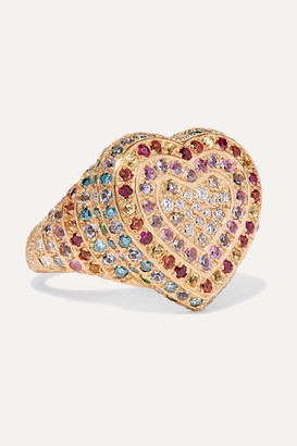 Carolina Bucci Heart 18-karat Gold Multi-stone Ring - 7