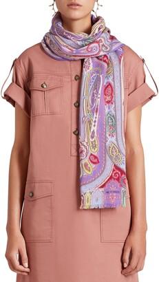 Etro Calcutta Paisley Wool & Silk Scarf