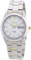 Seiko SNE041 Men's Date Silver Gold Tone Stainless Steel Watch SNE041