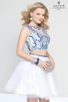 Alyce Paris - 4446 Dress In White Blue