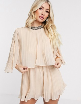 Rare London pleated playsuit in stone