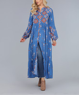 Ananda's Collection Women's Casual Dresses royal - Royal Blue & Rust Button-Front Scarf Print Maxi Dress - Women