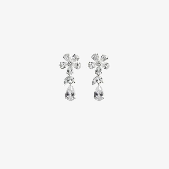 Apples & Figs Silver-Plated Daisy Tear Drop Crystal Earrings