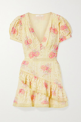 LoveShackFancy Bea Lace-trimmed Tiered Broderie Anglaise Cotton-voile Mini Dress - Pastel yellow