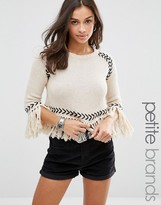 Glamorous Petite Sweater With Contrast Knit Detail And Tassel Hem
