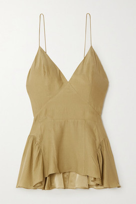 TOVE - Delphi Ruffled Silk-crepon Camisole - Army green