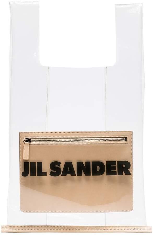 Jil Sander transparent logo market bag