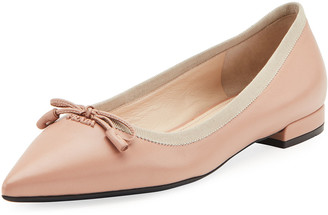 Prada Leather Pointed Ballet Flats
