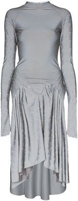 Marine Serre Moon Print Dipped-Hem Dress