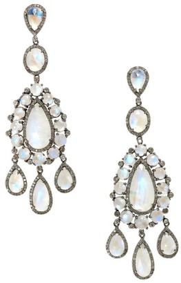 Nina Gilin Black Rhodium-Plated, Moonstone & Diamond Chandelier Earrings