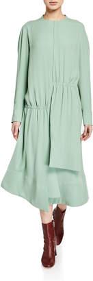 Tibi Modern Drape Open-Back Long Dress
