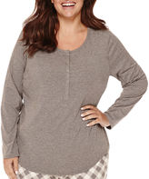 Liz Claiborne Long-Sleeve Henley Sleep Tee - Plus