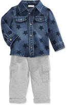 First Impressions Baby Boys' 2-Pc. Star-Print Denim Shirt & Cargo Pants Set, Only at Macy's