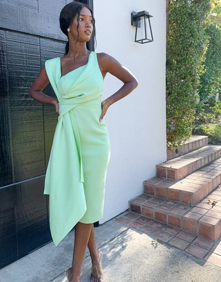 ASOS DESIGN bare shoulder sash detail pencil midi dress in lime