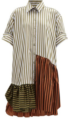 Marques Almeida Upcycled Striped Cotton Shirt Dress - Khaki Multi