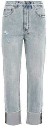 Ksubi Distressed High-rise Straight-leg Jeans