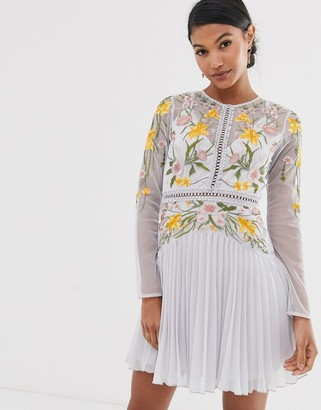 Asos Design DESIGN mini dress with pleat skirt and lace inserts in floral embroidery-Blue