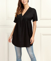 Reborn Collection Women's Tunics Black - Black V-Neck Tunic - Women & Plus