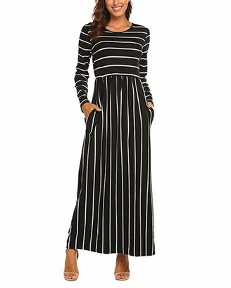 CNFIO Women Midi Dress Casual 3/4 Long Sleeve Stripe Empire Waist Dresses with Pockets B-Navy M