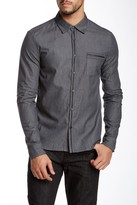 Rogue Genuine Leather Trim Long Sleeve Trim Fit Shirt