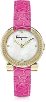 Salvatore Ferragamo Gancino Gold IP Stainless Steel and Diamonds Women's Watch w/Pink Croco Embossed Strap