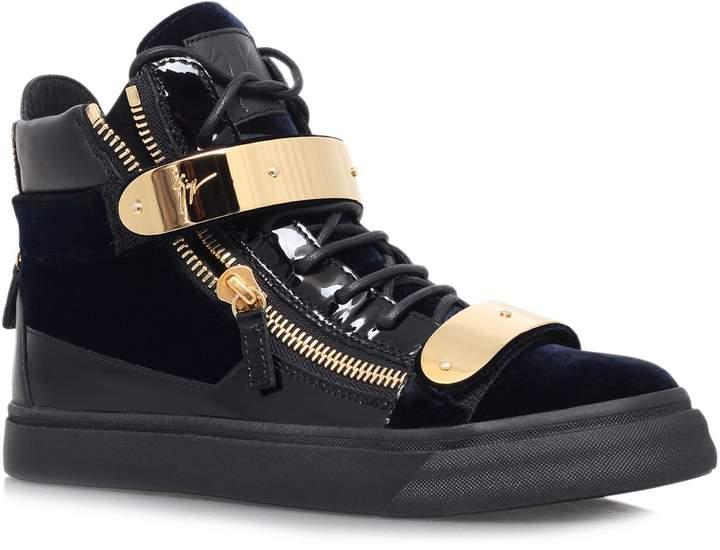 Giuseppe Zanotti Velvet And Leather High-Top Sneaker