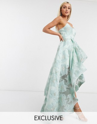 Bariano organza high low dress in mint floral