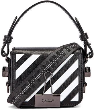 Off-White Off White Diagonal Baby Flap Bag in Black & White   FWRD