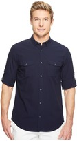 Calvin Klein Fine Seersucker Voile Roll-Tab Button Down Men's Long Sleeve Button Up