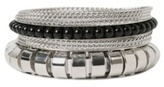 Silver Ridged Black Bead Bangle Bracelet 8-Pack