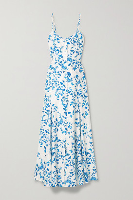 Rebecca De Ravenel Godet Printed Silk-jacquard Maxi Dress - White
